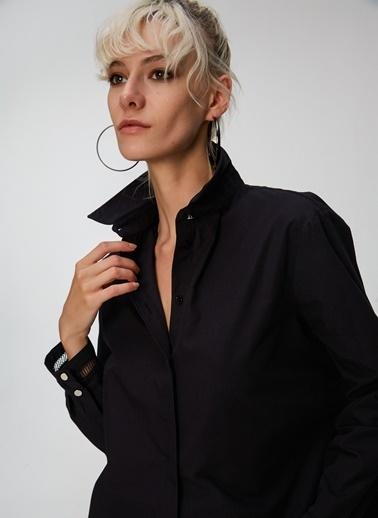People By Fabrika Kolu Şerit Detaylı Gömlek Siyah